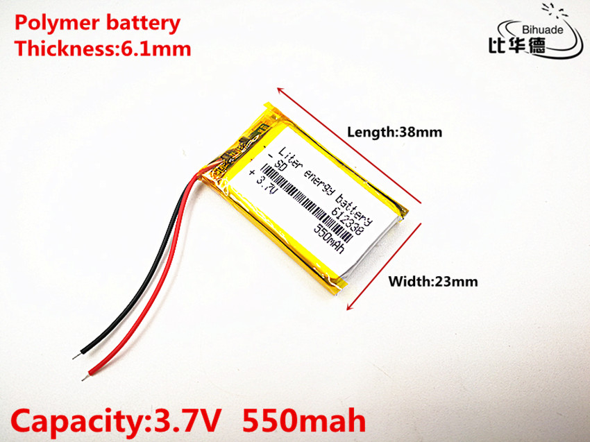 2019 The new quality 100pcs/lot 3.7V,550mAH,612338 Polymer lithium ion / Li-ion battery for automobile data recorder,GPS,mp3,mp4 1