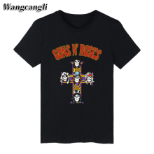 GUNS N ROSES Punk Summer Cotton black T-shirt Men Short Sleeve TShirt and Rock Band T Shirt Mens Tee Shirts