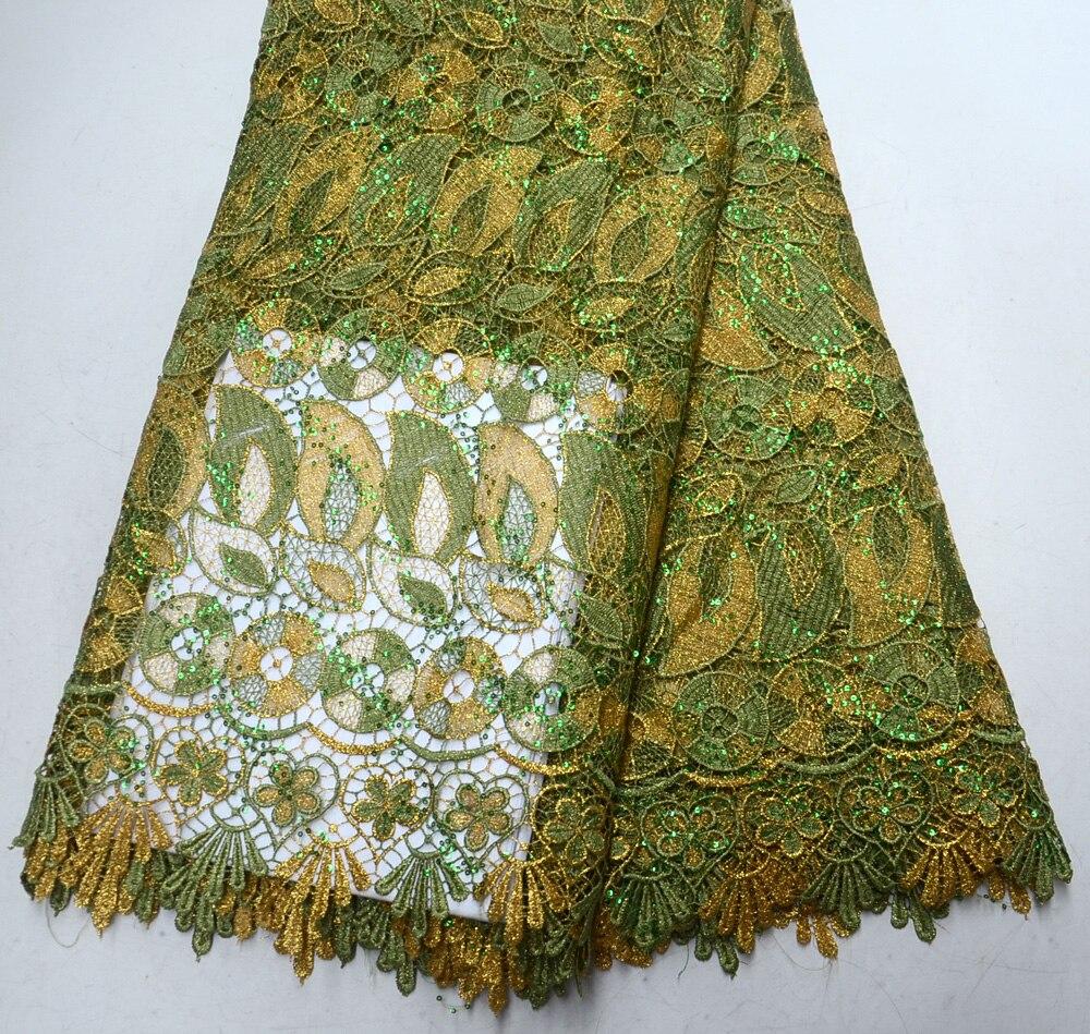 Excellente armée verte avec des paillettes de fil d'or cordon africain traditionnel mariage dentelle paillettes cordon tissu