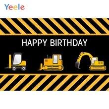 Yeele Baby Boy Birthday Construction Party Photography Backgrounds Vinyl Custom Photographic Backdrop For Photo Studio Props цена
