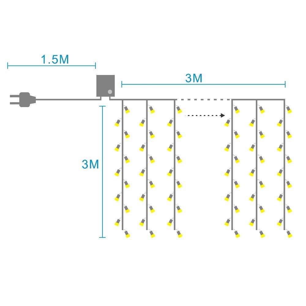 3x3 м Функция памяти Рождественский светодиодный занавес сосулька струнный свет Крытый падение светодиодный вечерние садовый сценический открытый декоративный свет