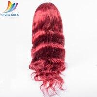 Sevengirls красного цвета Синтетические волосы на кружеве человеческих волос парики для черный Для женщин перуанский объемная волна Синтетичес