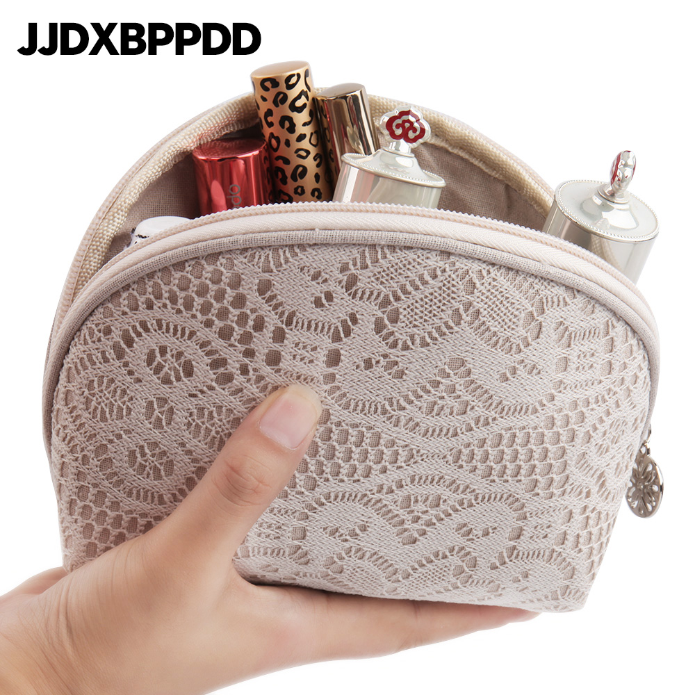 JJDXBPPDD New Women half Moon Small Lace Makeup bag Travel Cosmetic Bag Organizer Case Necessaries Make Up Wash Toiletry Bag