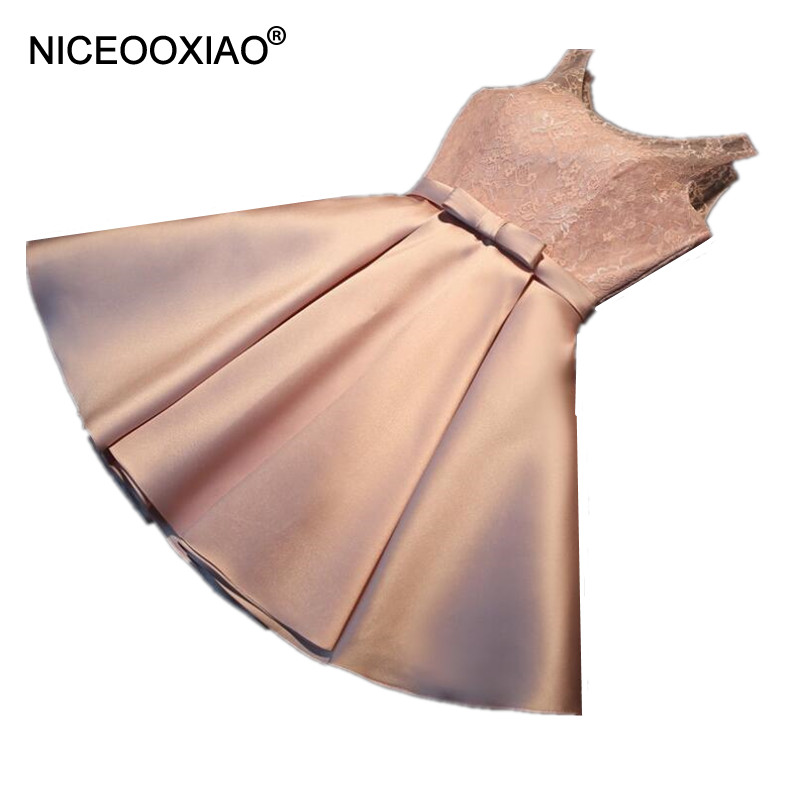NICEOOXIAOElegant Padded Short Evening Dress 2018 Lace O-neck Party Ball Gown Sexy Backl ...