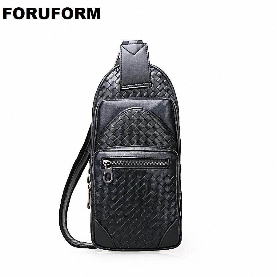 Genuine Leather Weave Waist Belt Bag Men Leather Shoulder Men Chest Bag Fashion Travel Crossbodys Bag Male Flap LI-1941