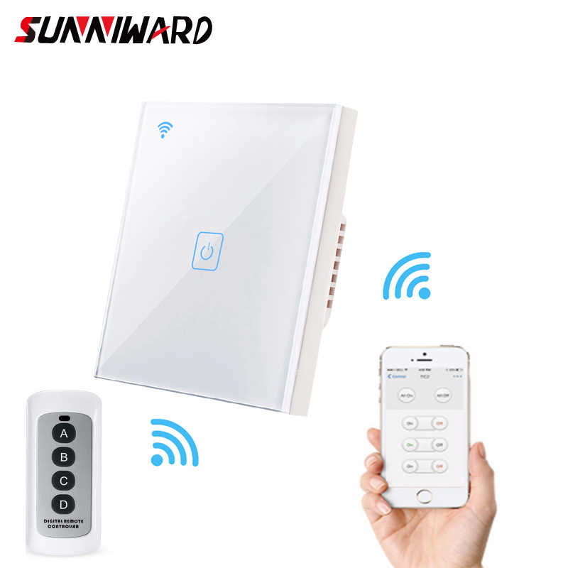Eu Standard 1/2/3gang Wifi Touch Switch Smart Wall Switch Single Live Line Crystal Glass With Alexa Google Ewelink App