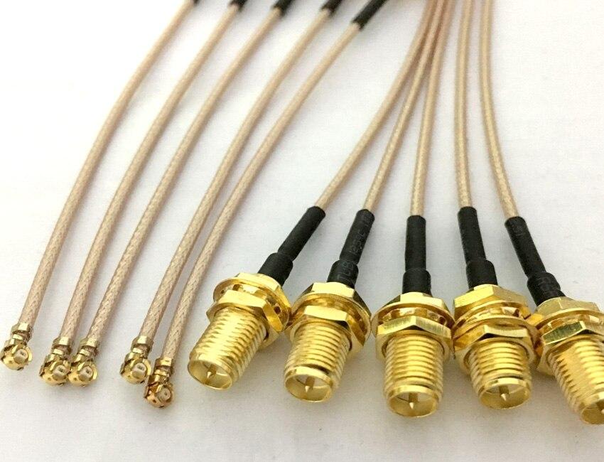 100 pces 5 cm/8 cm/10 cm/15 cm/20 cm RP-SMA pino fêmea para ufl/u. fl/ipx/ipex rf conjunto de adaptador coaxial rg178 trança cabo
