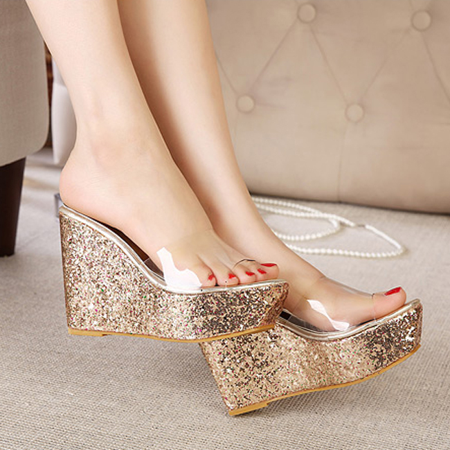 5e17f2318a2 Women Sandals 2016 Transparent Women Platform Sandals Glitter Wedges High  Heel Slippers Sandals Summer Shoes Woman XWG0003 5-in Slippers from Shoes  on ...