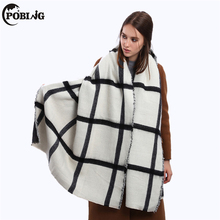 POBING Winter Scarf Women Black White Striped Scarves & Wraps za Tartan Plaid Shawls Warm Cashmere Pashmina Female Blanket Scarf