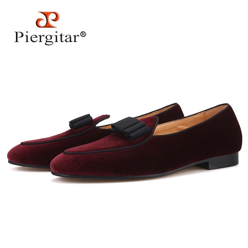 Piergitar 2019 dark red colors velvet men shoes with bow knot designs Wedding men s loafers