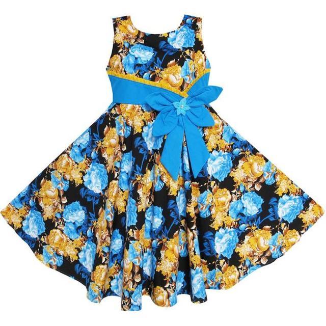 4623b4d787a Sunny Fashion Robe Fille Bohême Or Bleu Arc Attacher De tous les jours Été