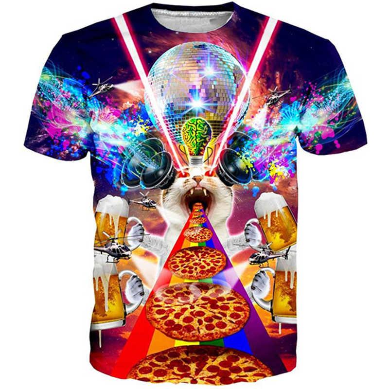 PLstar Cosmos Брендовая женская/мужская футболка с 3d принтом в стиле хип-хоп футболка с сумасшедшей кошкой пиццей летняя уличная одежда топы XS-7XL