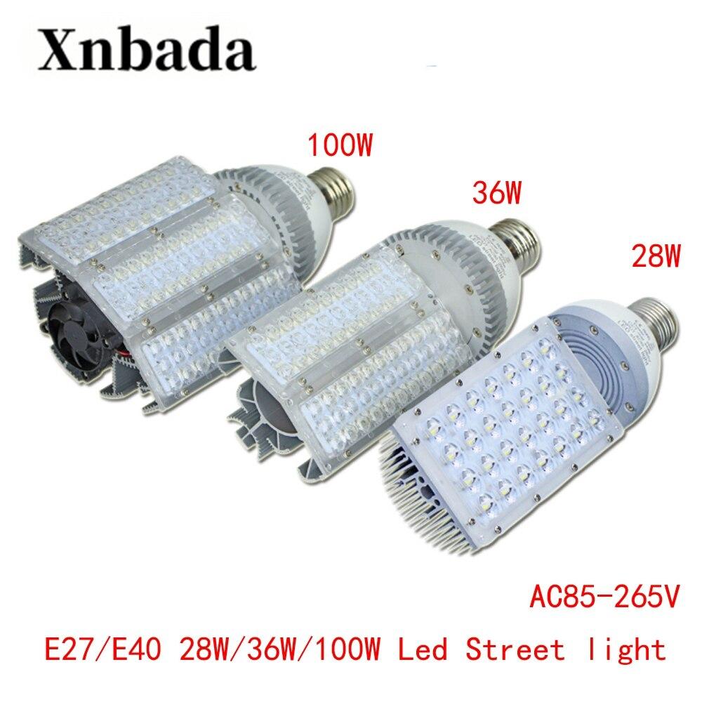 100 W 36 W 28 W E40 E27 светодиодный уличный фонарь высокой Мощность уличный фонарь энергосбережения светодиодный лампы 180 градусов Свет Бесплатная доставка