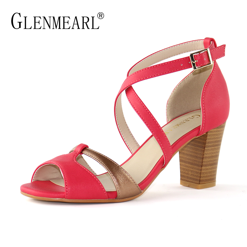 Sexy Women Sandals High Heels Shoes Summer Peep Toe Ankle Strap Sandals Woman Thin Heels Brand Dress Shoes Female Plus Size DE lady elegant sexy big size 4 17rhinestone peep toe pu buckle strap thin high heels women shoes pumps sandals girls summer style
