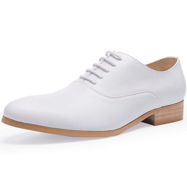 Qulaity Vaca white Redondo Trabalho Oxford Rendas Couro Branco Black Pé Diárias Casamento Sapatos De Genuíno Preto Dos Do Alta Homens Dedo qxawRA