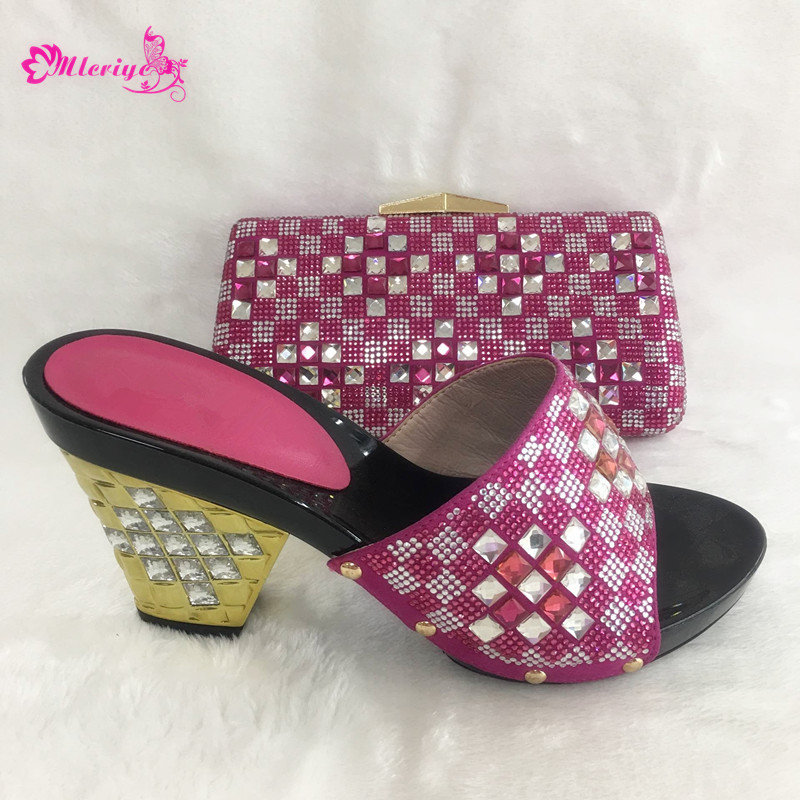 188e3d6da9be low price Ladies Italian Shoes and Bag Set Decorated with Rhinestone  African Shoes and Bags Matching