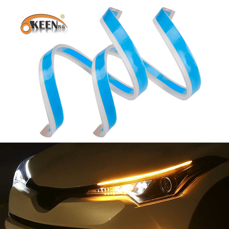 OKEEN 2Pcs 30cm 45cm 60cm Flexible Car DRL LED Daytime Running Lights with Sequential Guide Turning Signal light For Headlight