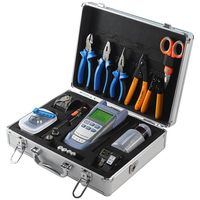 Fiber Optic fusion splicer Tool Kit with AUA S2 Fiber Cleaver and Optical Power Meter 10MW Visual Fault Locator with toolbox set
