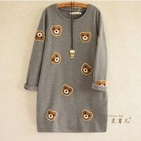 2016 Autumn Winter Cartoon Bear Embroidery Sweatshirt Women Fashion Long Hoodie Dress Fleece Pullover Moletom Feminina