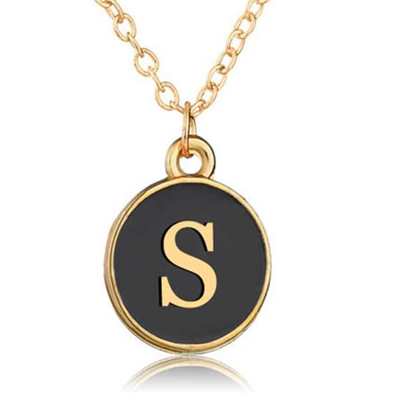 NEW 26 Letters Initial Necklace gold chains Color Disc Pendant Necklace Alphabet Women  Friends Family Letter necklace 2019