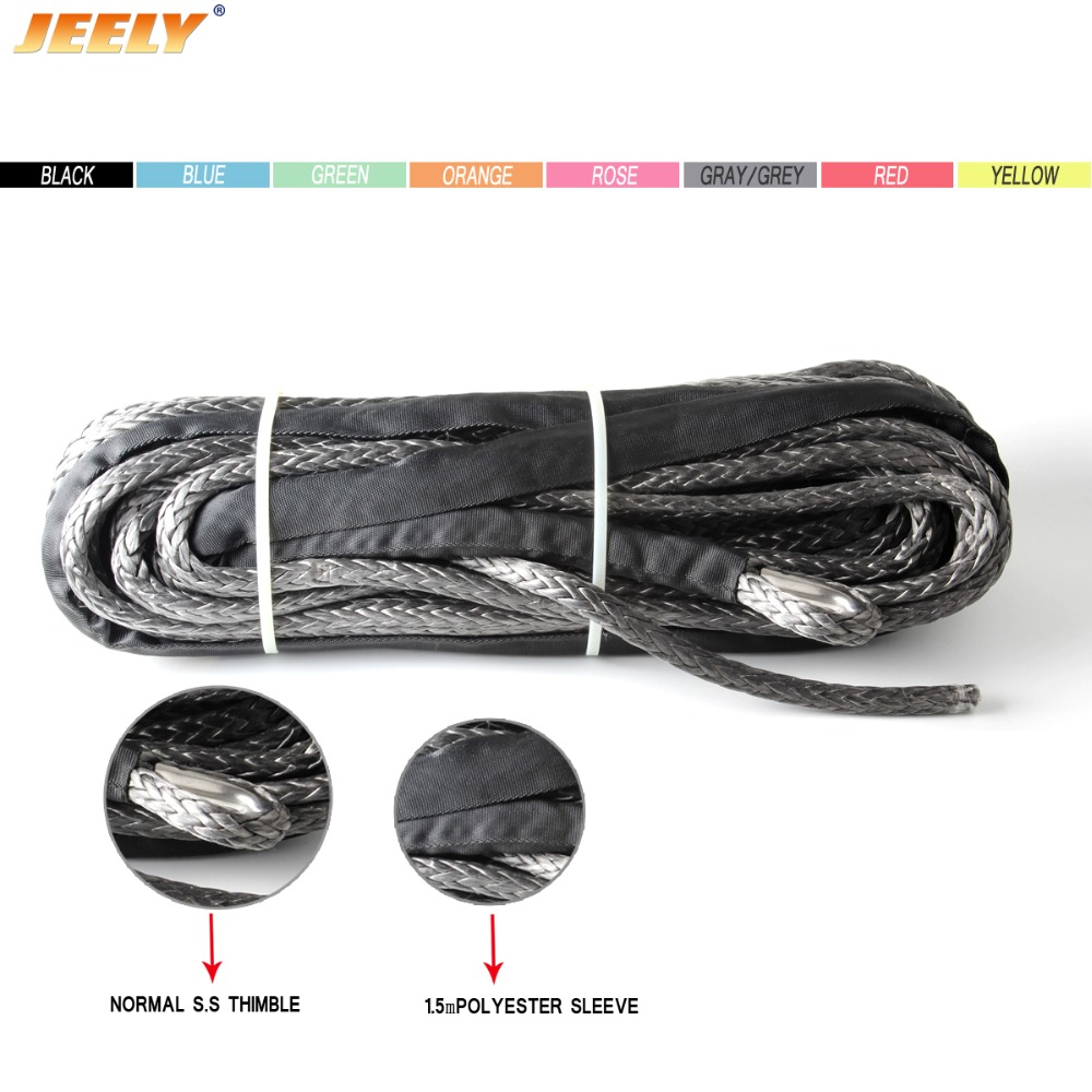 JEELY 10mm*15m 12 strand 16534lbs uhmwpe synthetic car tow cable with tow eye WINCH ROPE free shipping 10mm 30m 12 strand uhmwpe synthetic 4x4 atv winch rope with thimble
