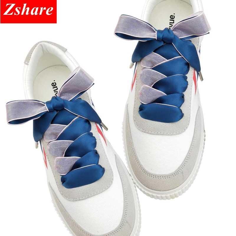 1 Pair 2 CM Genişlik Çift-yüzlü Kar Iplik danteller Saten ipek kurdele Ayakabı Kadın Moda Sneakers Ayakkabı Danteller 80 /100/120 cm