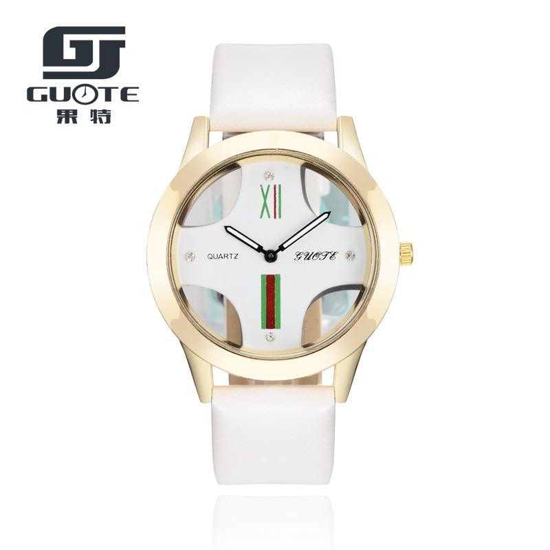 GUOTE 2020 High Quality New Fashion Watch Luxury Pierced Cross Dress Watch Lady Elegant Quartz Watch Lady Exquisite Watch Men