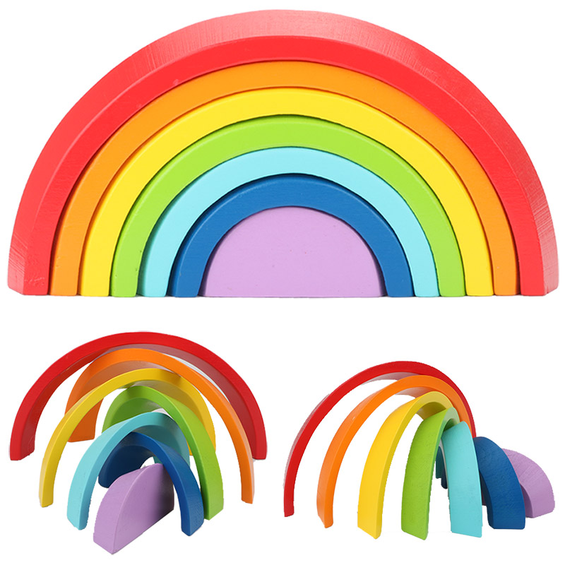 Montessori Wooden Rainbow Puzzle Colored Arch Bridge Assemble / Educational / Toy Building Blocks Set Shapes Sorting Preschool