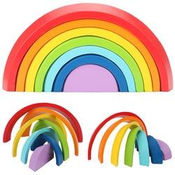 Montessori Wooden Rainbow Puzzle Colored Arch Bridge Assemble / educational / Toy Building Blocks Set Shapes Sorting Preschool
