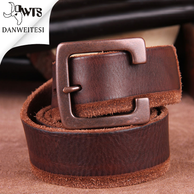 [DWTS]cowhide genuine leather men brand Strap male pin buckle fancy vintage jeans belt belts for men cintos cinturones hombre