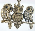 Vintage Style Branch Bronze Three Owl Pendant Necklace For Women And Men