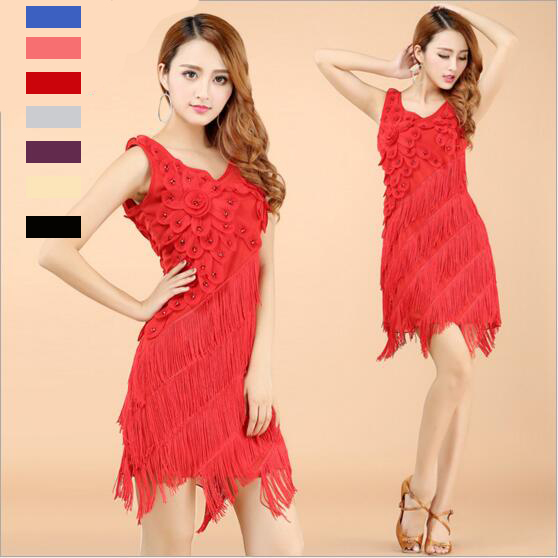 Fringe Red Salsa Dance Dresses Sexy Latin Salsa Dresses Dance Costume For Women Sweet Flower Style