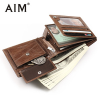 AIM Genuine Leather Wallet Luxury Men Wallets With Card Holder & Coin Purse Small Male Wallet Portomonee Mini Men Purse SMT001KQ