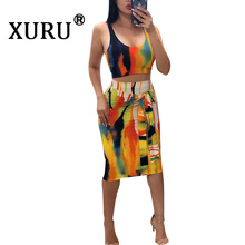 XURU Summer New Sexy Womens Print Dress Two-piece Tie Dye Sling Nightclub Set