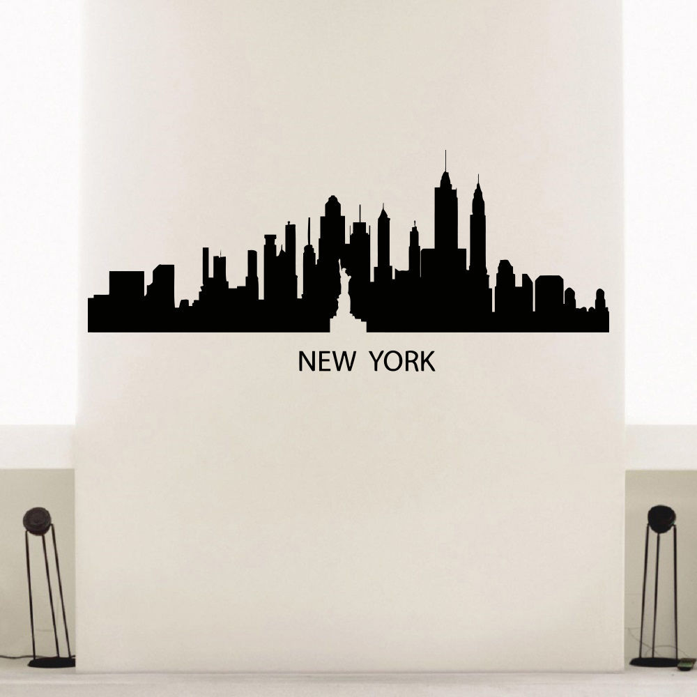 Außergewöhnlich New York Wandtattoo Foto Von Skyline City Skyline Statue Of Libery Schlafzimmer