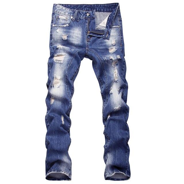 Moda ripped Vaqueros hombres mendigo parche Pantalones bolsillos Vaqueros  mens pantalones de mezclilla retro Jean para d126e16f8ba