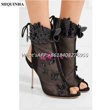 MIQUINHA Summer Butterfly Light Purple Gauze Shoes Woman Lace Up Round Toe High Heel Women Sandals Peep Toe Summer Sandalia