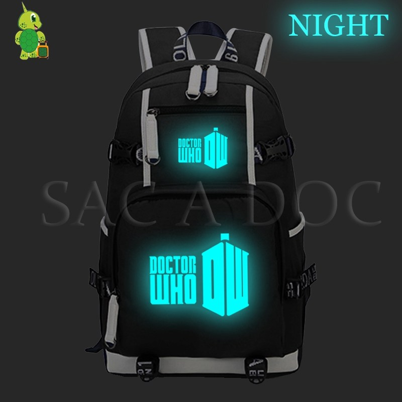 Doctor Who Laptop Backpack Luminous School Bags for Teenage Girls Boys Canvas Casual Rucksack Large Capacity Travel Bags