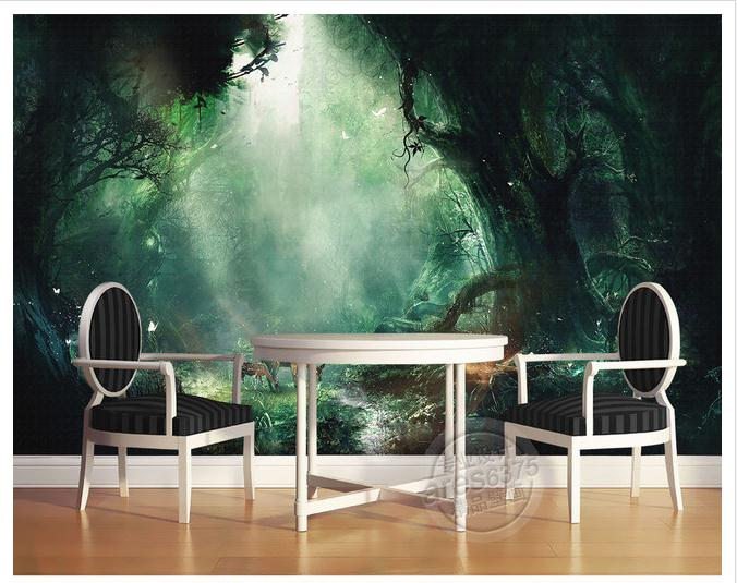 Custom mural 3d wallpaper fairy tale forest sika deer for Deer mural wallpaper