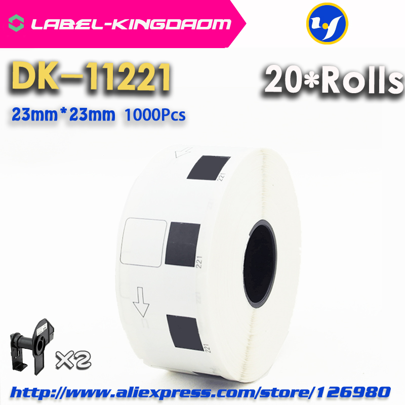 20 Refill Rolls Compatible DK-11221 Label 23mm*23mm 1000Pcs Compatible for Brother Label Printer QL-700/720 White Paper DK-1221