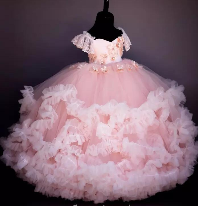 New Arrival Pink Fluffy Flower Girl Dresses Beaded Handmade Flowers Girls Pageant Dress Lace Up Ball Gown