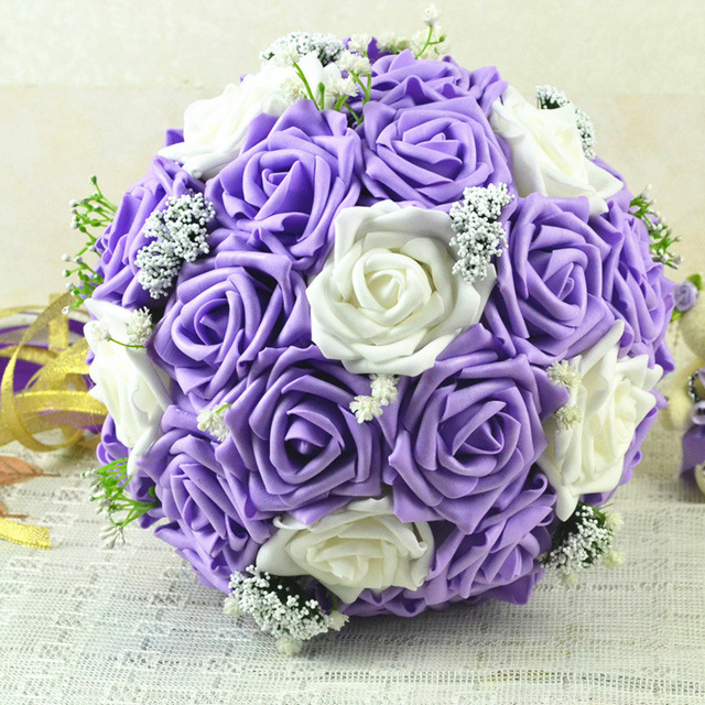 Purple simulación de rosas blancas ramo de la boda púrpura