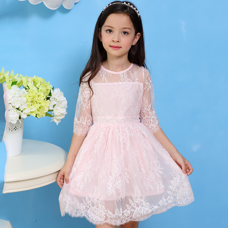 2017 Children Evening Dress Summer New Girls Lace Princess Dress Baby Flower Girl Wedding Party Dresses Kids Clothes beffery 2018 british style patent leather flat shoes fashion thick bottom platform shoes for women lace up casual shoes a18a309