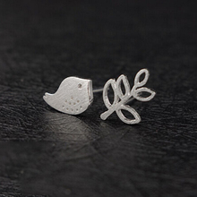 Fashion 925 Sterling Silver Birds Tree Branch Earrings For Women Girl Sterling Silver Stud Earings Jewelry Brincos Pendientes E7