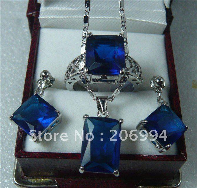 Ювелирные изделия голубой циркон Цепочки и ожерелья кулон серьги кольца#172