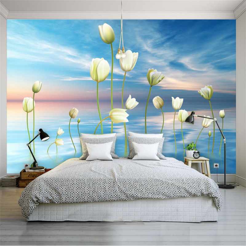 custom modern 3d non-woven wallpaper wall mural  3d wallpaper beautiful scenery tulip living room bedroom TV background wall