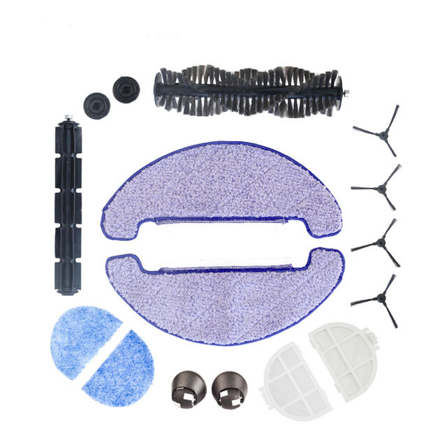 (ForX5S) Robot Vacuum Cleaner side brush*4,main brush*1,rubber brush*1,mop cloth*2,HEPA filter*2,primary filter*2,front wheel*2 6 hepa filter 2 side brush 1 bristle brush