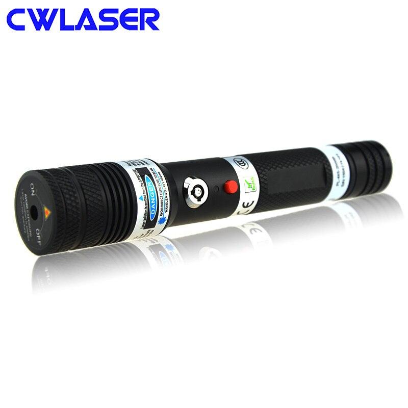 CWLASER 50000 m Poder Real Portátil A Laser de 445nm Focalizável Queima Ponteiro Laser Azul com Bloqueio Duplo Militar Laser (Preto)