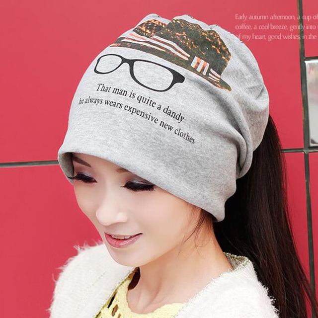 Cotton Spring Autumn Print Sleeve Cap Dual Purpose Beanies Women  Slouch Baggy Plicate Hat Head Caps Scarf Fashion Neckerchief