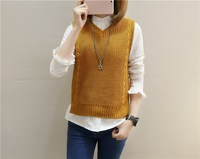 Korean Style Waistcoat Female Casual Vest Sweater Jacket Slim Lace Up Pullover Tops Women Wool Vest